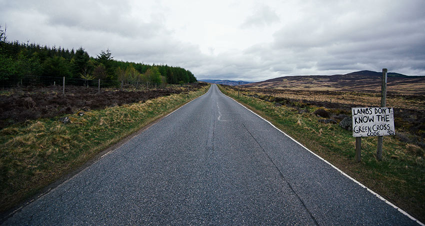 On the road in Scotland