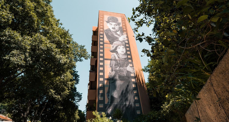 Le mur à la gloire de Charlie Chaplin