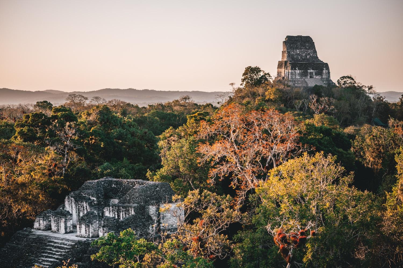 le coucher de soleil sur le parc de Tikal