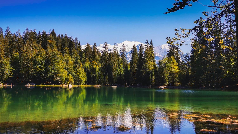 Vue du mont blanc depuis le lac vert