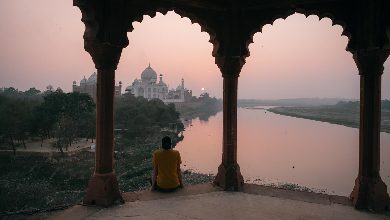 LA vue depuis la tour qui se situe en haut du taj mahal